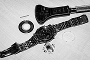 Dismantling Prints - Replacing The Battery In A Metal Band Wristwatch Print by Joe Fox
