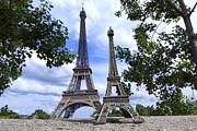 Replica Eiffel Tower Next To The Real Eiffel Tower Print by Bernard Jaubert