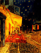 Night Cafe Drawings Prints - Replica of Van Goghs Cafe at Night Print by Jose A Gonzalez Jr