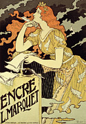 Pensive Drawings Posters - Reproduction of a poster advertising Marquet Ink Poster by Eugene Grasset