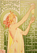 Bar Decor Framed Prints - Reproduction of a poster advertising Robette Absinthe Framed Print by Livemont