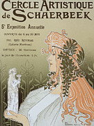 Art Nouveau Drawings - Reproduction of a poster advertising Schaerbeeks Artistic Circle by Livemont