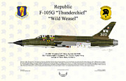 Republic Prints - Republic F-105G Thunderchief 561TFS Print by Arthur Eggers