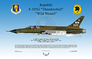 Fighter Star Fighter Posters - Republic F-105G Thunderchief Poster by Arthur Eggers