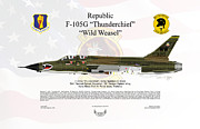 Usaf Framed Prints - Republic F-105G Thunderchief Wild Weasel Framed Print by Arthur Eggers