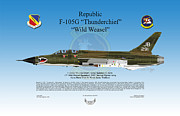 Republic Prints - Republic F-105G Wild Weasel Print by Arthur Eggers