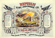 Republic Mixed Media Posters - Republic Fire Insurance Poster by Unknown