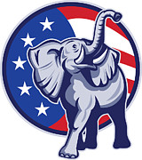 Elephant Framed Prints - Republican Elephant Mascot USA Flag Framed Print by Aloysius Patrimonio