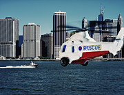 Rescue Mission   Digital Art Posters - Rescue Helicopter Poster by Heather Kehoe