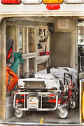 Hospital Prints - Rescue - Inside the Ambulance Print by Mike Savad