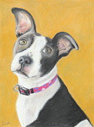 White Pastels Metal Prints - Rescued Pit Bull Metal Print by Jeanne Fischer