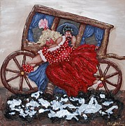 Red Reliefs Prints - Rescuing a Damsel in Distress Print by Alison  Galvan