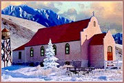 Montana Digital Art - Reservation Church by Ronald Chambers
