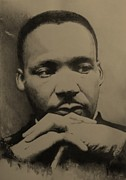 Martin Luther King Jr Drawings Posters - RESONANCE in MLK Poster by Matt Laseters BZRROindustries