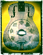Guy Gifts For Him Framed Prints - Resonator Dobro Yellow Guitar Art Print Framed Print by Artful Musician NY