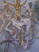 Cyclists Paintings - Rest at the American Embassy by Peregrine Roskilly