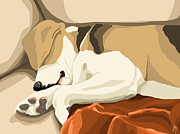 Dogs Digital Art Prints - Rest Print by Veronica Minozzi