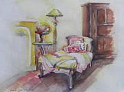Chaise Painting Prints - Rest Well By The Fireside Print by Connie Lynn Pico