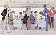 Dining Drawings Prints - Restaurant Car in the Paris to Nice Train Print by Sem