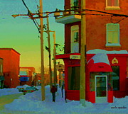 Bistro Paintings - Restaurant Chez Lulu B Cafe Rue Ethel Streets Of Verdun Montreal Winter Scenes Carole Spandau by Carole Spandau