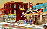 Restaurant Greenspot Framed Prints - Restaurant Greenspot And Coin Vert Boutique Fleuriste Montreal Winter Street Hockey Scenes Framed Print by Carole Spandau