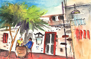 Canary Drawings Prints - Restaurant in Puerto Carmen in Lanzarote Print by Miki De Goodaboom
