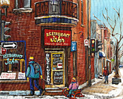 Quebec Cities Paintings - Restaurant John by Carole Spandau