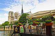 Notre Dame Photos - Restaurant on Seine by Elena Elisseeva