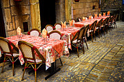 Napkin Prints - Restaurant patio in France Print by Elena Elisseeva