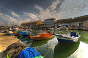 Israeli Digital Art Metal Prints - resting boats at the Jaffa port Metal Print by Ron Shoshani
