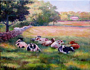 Stonewall Paintings - Resting Cows by Linda Spencer