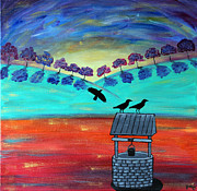 Crows Paintings - Resting Crows by Jessica Marin-feliciano