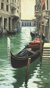 Italian Mediterranean Art Paintings - Resting Gondola by Michael Swanson
