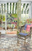 Tile Drawings Prints - Resting on the Lanai  Part 2 Print by Carol Wisniewski