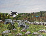 Park Benches Paintings - Resting Place by Donna Muller