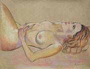 Resting Woman Looking Upward And Inward Print by Asha Carolyn Young