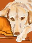Labrador Digital Art - Resting Yellow Lab by Lois Ivancin Tavaf