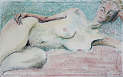 Young Woman Pastels Prints - Restive Woman Dreaming Print by Asha Carolyn Young