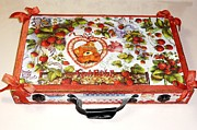 Teddy Bears Mixed Media - Restyling of a wooden suitcase  front by Donatella Muggianu