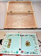 Teddy Bears Mixed Media - Restyling of a wooden suitcase  Inside by Donatella Muggianu