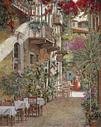 Dinner Painting Prints - Rethimnon-Crete-Greece Print by Guido Borelli
