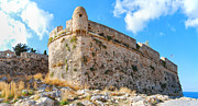 Port Town Photo Framed Prints - Rethymnon fort panorama 03 Framed Print by Antony McAulay