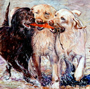 Labrador Retriever Prints - Retrieving Fools Print by Molly Poole