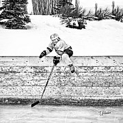 Youth Hockey Digital Art - Retrieving the Puck by Elizabeth Urlacher