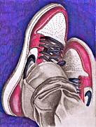 Nike Drawings - Retro 1.2 by Dallas Roquemore