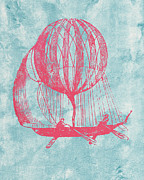 Basket Drawings Prints - Retro Airship - Balloon Print by World Art Prints And Designs