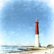 Historic Home Mixed Media Prints - Retro Barnegat Lighthouse Barnegat Light New Jersey Print by Marianne Campolongo
