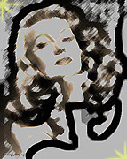 Decade Prints - Retro  Beauty  Rita Hayworth Print by Cheryl Young