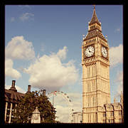 St Elizabeth Framed Prints - Retro Big Ben Framed Print by Heidi Hermes