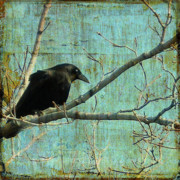 Crow Collage Prints - Retro blue - Crow Print by Gothicolors And Crows